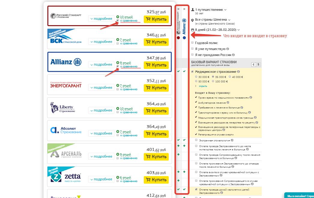 Сравнение параметров страховок